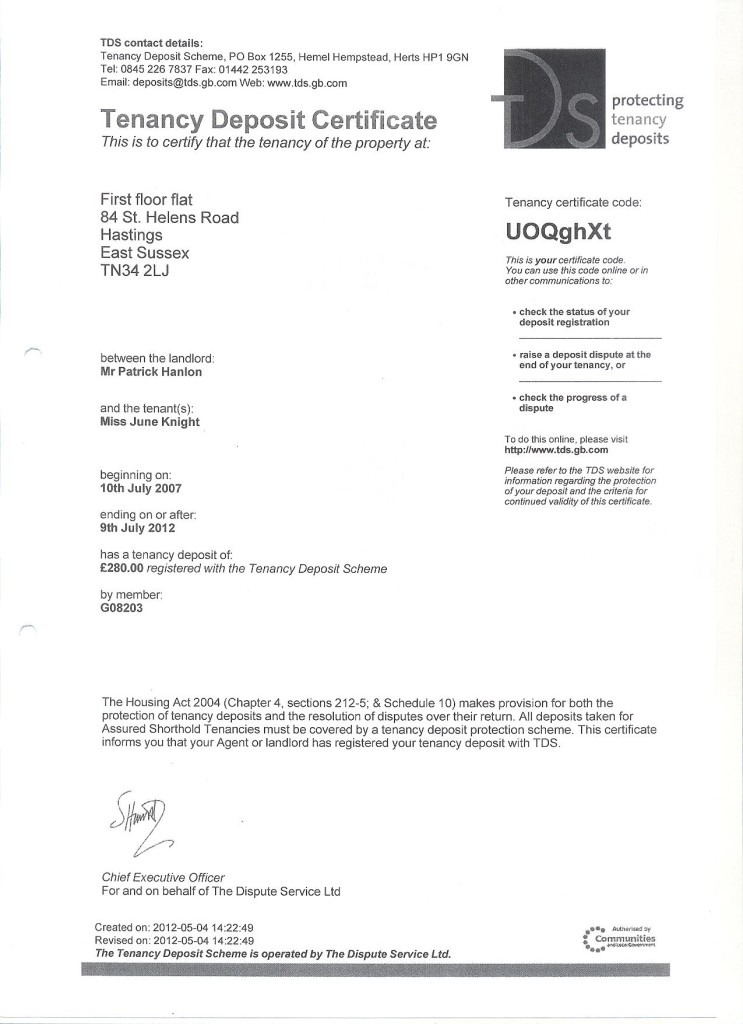 tenancy deposite certificate