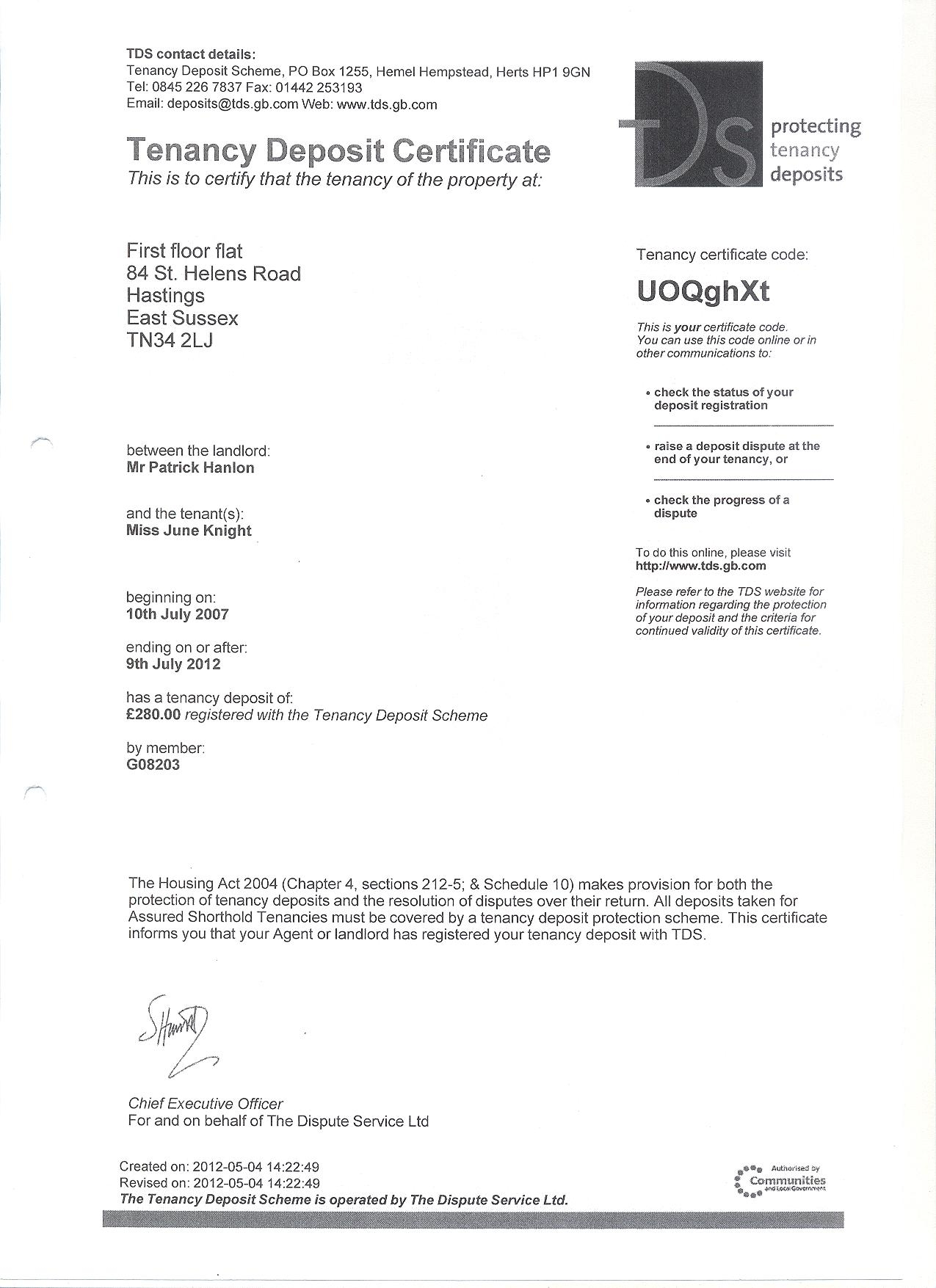 Bad property management sam hensher accounts does not tds and the late protection of deposits 2013 tenancy deposite certificate xflitez Images