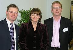 Daniel Hanlon (right) in Happier Times with Cherie Blair and David Field at Synergy Group(Recruitment) and the ground breaking top recruitment company Eden Brown.